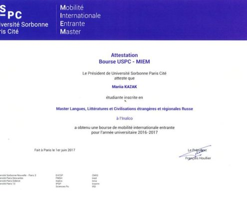 Certification MIEM - Université Sorbonne - FormaRusse